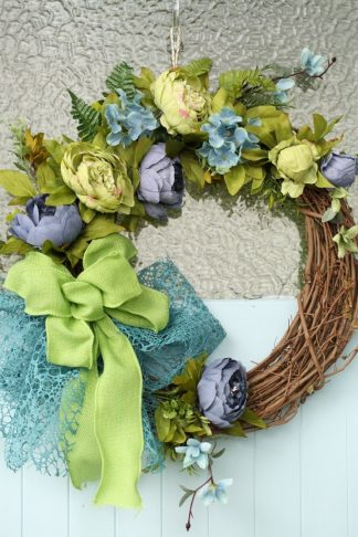 Dusty Blue -Lace, Bow and peonies