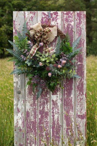 Autumn Foliage Wreath With Plaid Bow