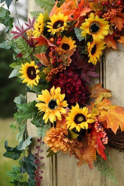 """Large 24"""" Autumn Sunflower Wreath"""